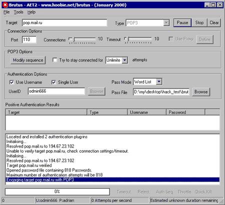 Brutus password cracker – download brutus-aet2. Zip aet2.
